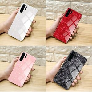 Case For Huawei P30 Pro Lite P40 Lite Pro Marble Tempered Glass ...