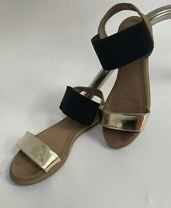 cheaper best authentic delicate colors Details about Womens Schuh Sandals Uk Size 4 Black Elasticated Ankle Strap  Gold Front