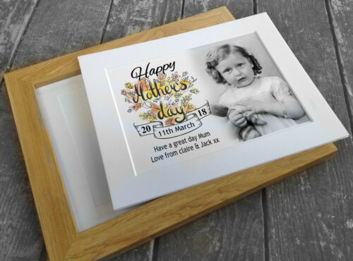 personalised gift baby 1st birthday present wooden photo frame or card mount
