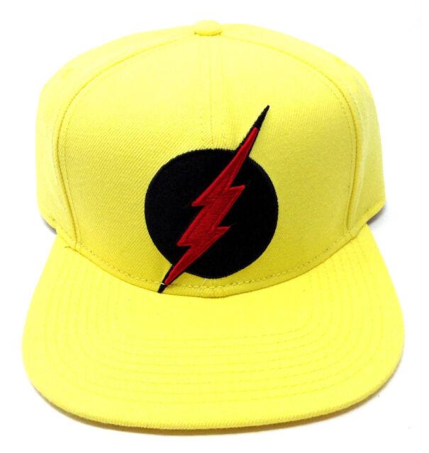 9e69122a DC COMICS YELLOW REVERSE THE FLASH ZOOM 3D BOLT LOGO SNAPBACK HAT CAP FLAT  BILL