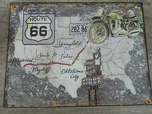 Blechschild-Wandschild-Route-66-Historic-Harley-Davidson-33-x-25-cm