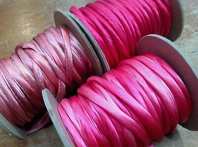 "PIPING Cording 1/4"" Hand Dyed SILK TUBING 1yd Edging BIAS Made in USA"