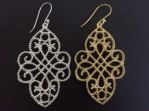 925 Sterling Silver / 18K Gold Vermeil Teardrop Filigree Earrings Diamond Large