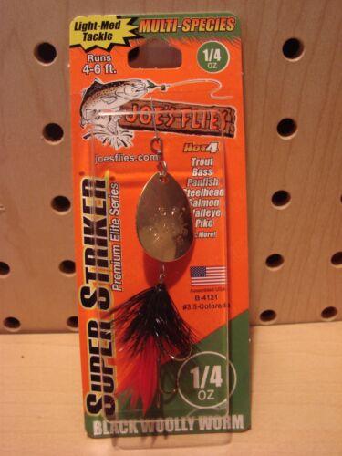 Joes Flies Super Striker 1//4 oz Black Woolly Worm NEW