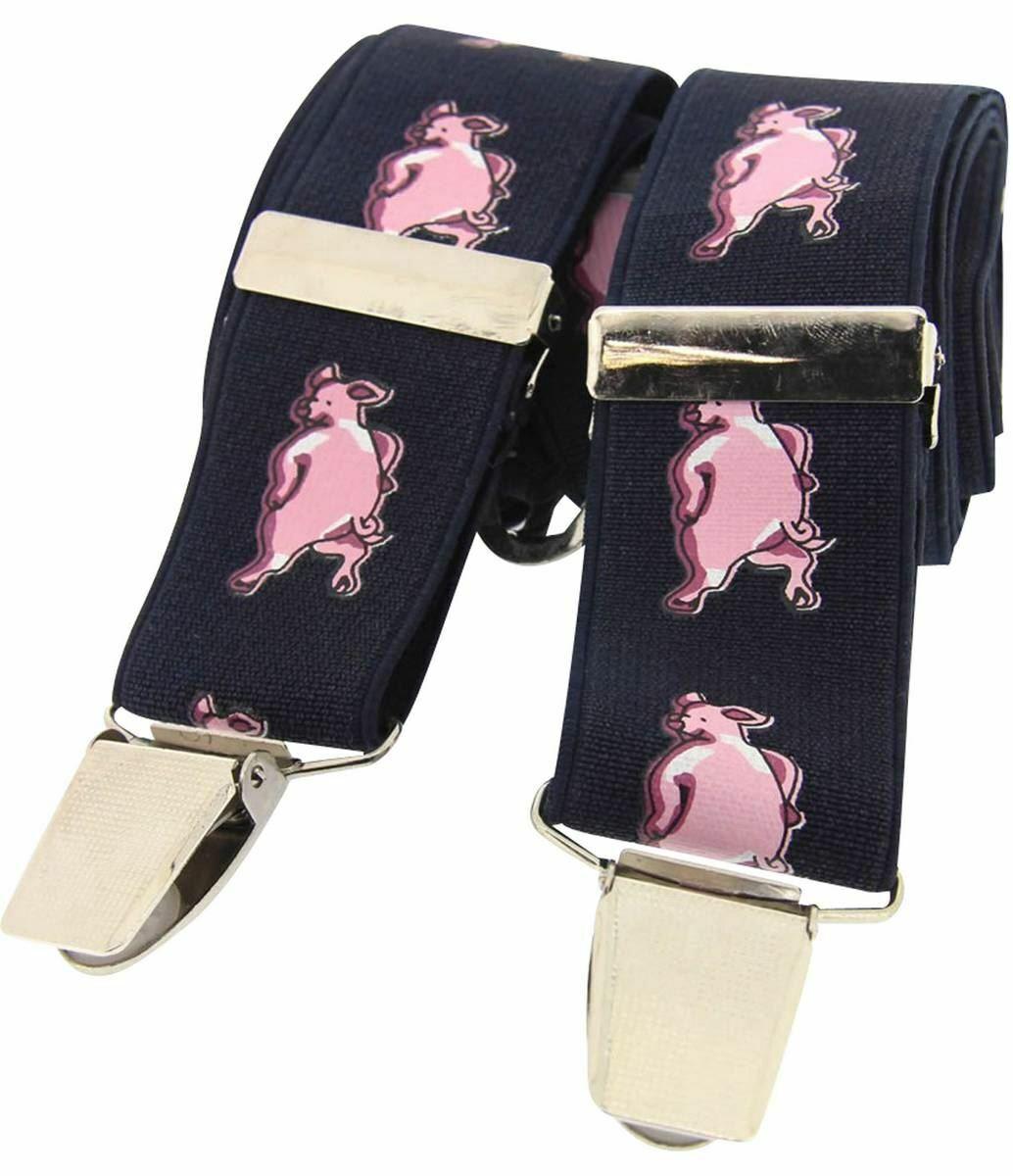 David Van Hagen Mens Funny Pigs Classic Country Braces - Navy/Pink