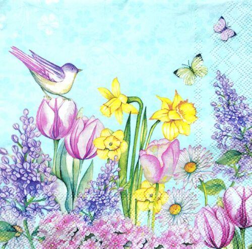 4 Déjeuner serviettes en papier pour découpage table de fête Vintage Oiseaux et Fleurs Meadow