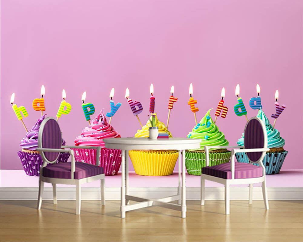 Birthday Candles 3D 3D 3D Full Wall Mural Photo Wallpaper Printing Home Kids Decor effc01