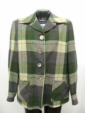Vintage Women's Pendleton 100% Virgin Wool Green Plaid Button Front Jacket