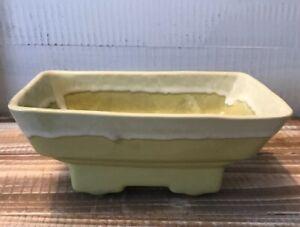 Vintage-Decorative-Cookson-Pottery-Planter-Yellow-Green-7-5-034-Long-Mid-century