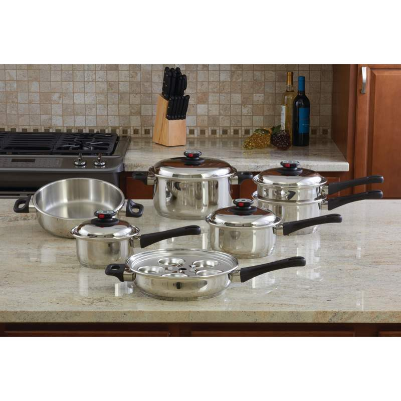 MAXAM 17 PIECE 9-ELEMENT SURGICAL STAINLESS STEEL STEAM CONTROL COOKWARE