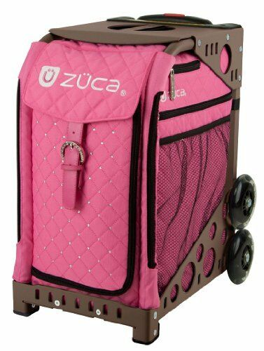 Zuca Hot Pink Sport Insert Bag & Brown Frame w. Flashing Wheels