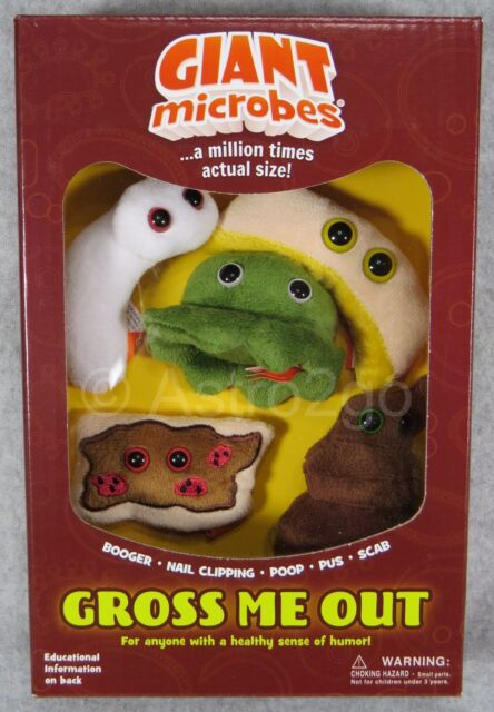 GIANT MICROBES--GROSS ME OUT THEME GIFT BOX--Booger Nail Clipping Poop Pus  Scab
