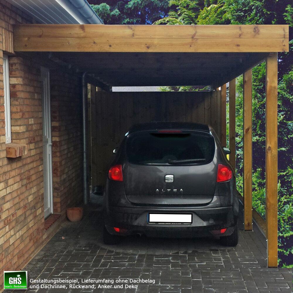 Anbau-Carport 3x7 m, Anlehncarport Holz-Bausatz mit Stützen 11x11 cm