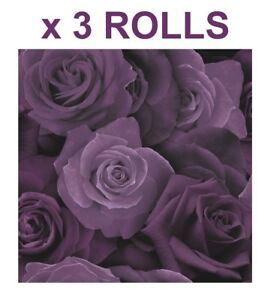 Image Is Loading Purple Roses Wallpaper Flower Floral Heavyweight Modern Arthouse