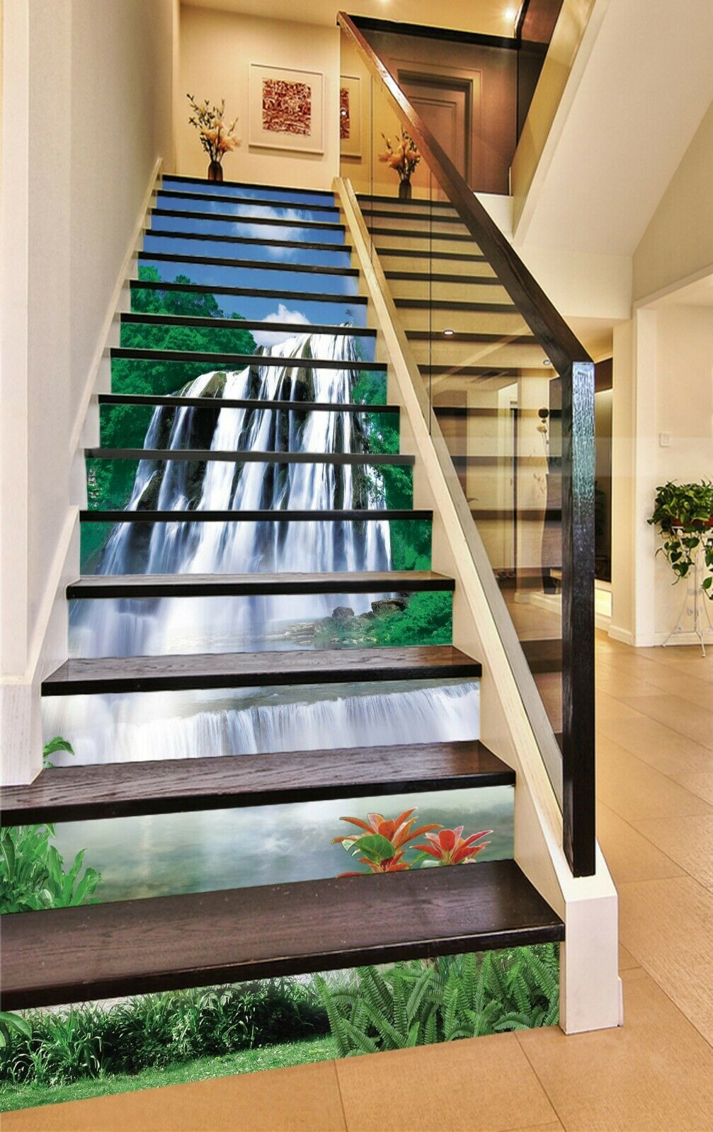 3D Waterfall Scenery KE9433 Stair Risers Decoration Mural Vinyl Wallpaper Kay
