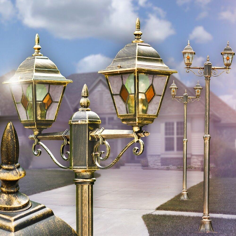 Lampione Alluminio braun Gold Giardino Illuminazione da Esterno Vetro Arancione