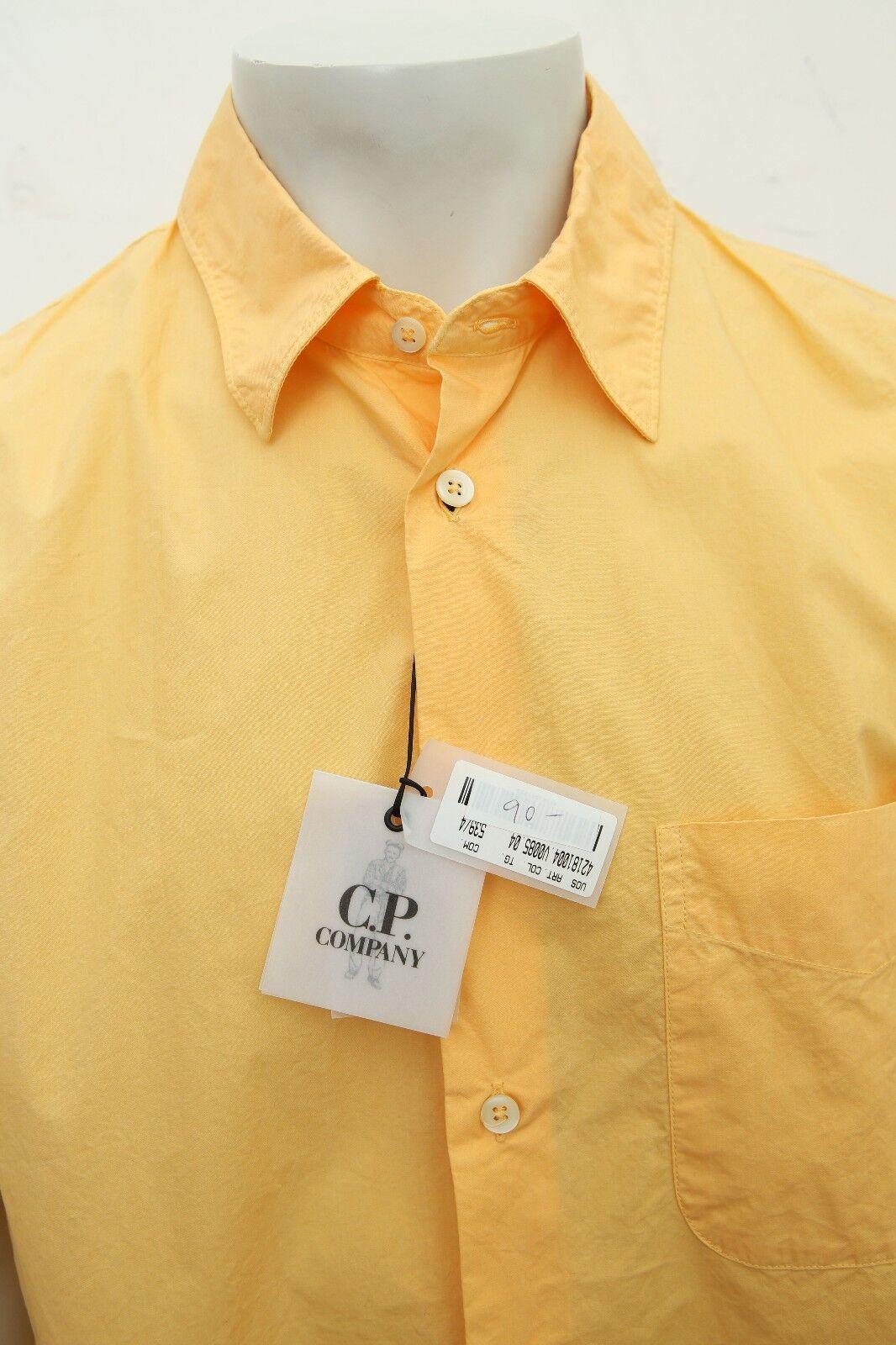 NUOVO da uomo CP COMPANY GIALLO Cotone Cotone Cotone Camicia a maniche corte misura 5 46d01c