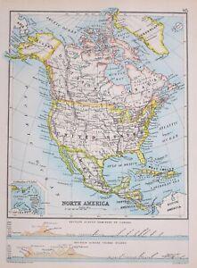 Carte Amerique Nord Etats.1894 Carte Amerique Du Nord Etats Unis Mexique Ouest