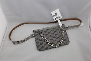 557ed9a1cd9bc5 Michael Kors MK Signature Logo Belt Wallet Pack Bag Grey chain NWT ...
