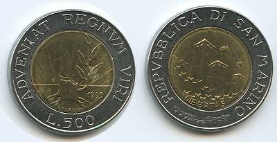 San Marino 500 Lire 1993 R Km#301 Growth From A Tree Stump Bimetall üBerlegene Materialien PräZise G1577 Münzen