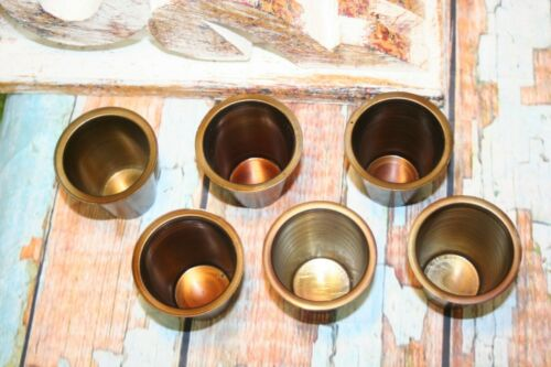 Set of 6 Sugar Mold Wood Candle Cups for Farmhouse Vintage Brass