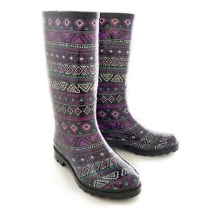 Detalles de Mujer Festival Botas agua estampado azteca Rainy Nieve Botas De Agua