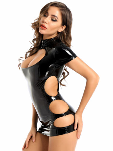 Womens Leather Bodycon Cocktail Evening Party Short Mini Dress Clubwear Costume