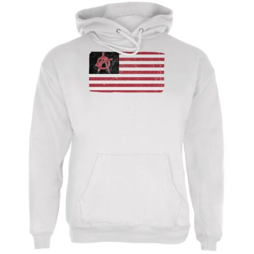 American Anarchy Flag Distressed White Adult Hoodie