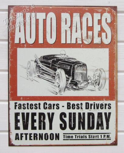 Vtg Auto Races TIN SIGN hotrod car metal poster wall decor garage racing 1546