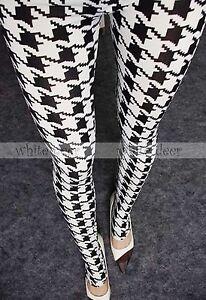 Women's Skinny Black White Houndstooth Leggings Stretchy Jeggings ...