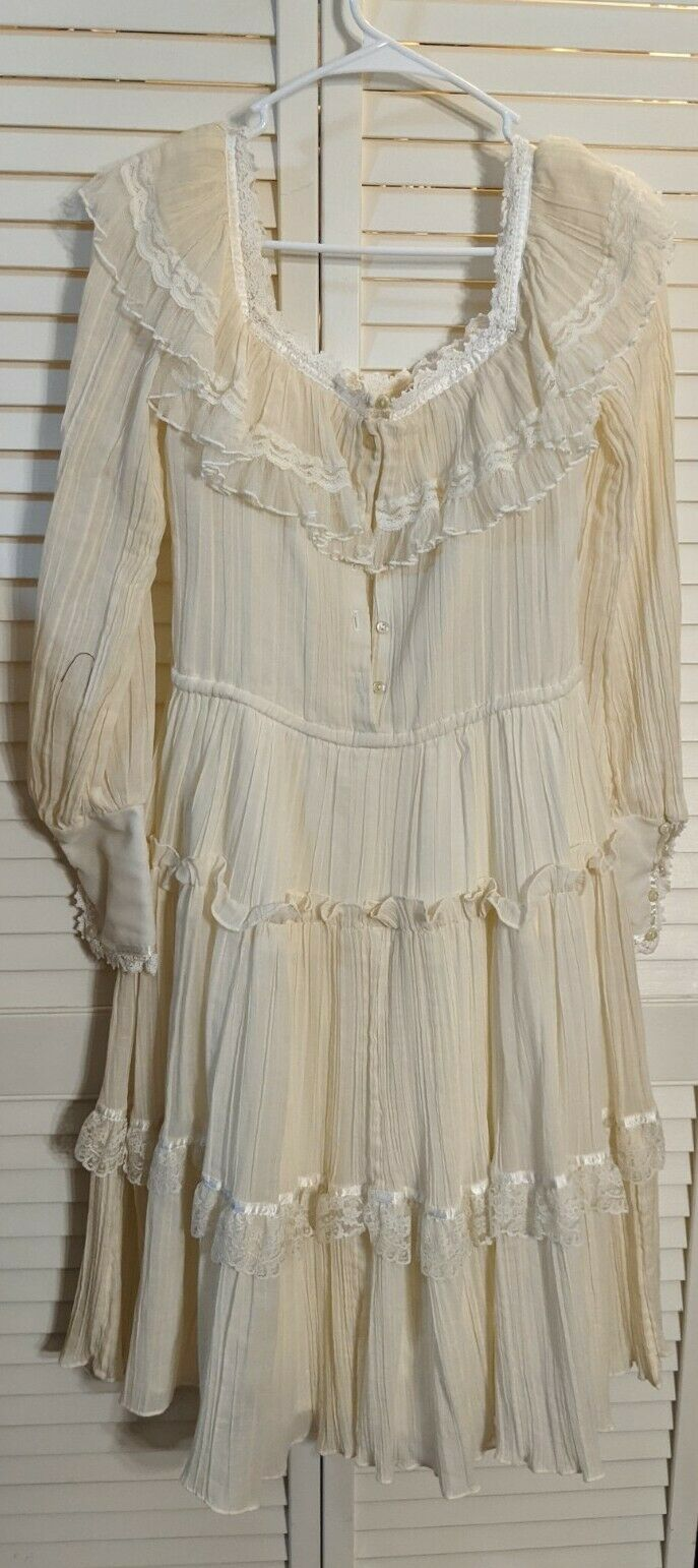 Gunne Sax Cottage Core Frilly knee Length Dress - image 3