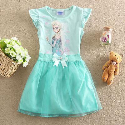 Girl Kids Frozen Princess Queen Elsa Party Cosplay Costume Fancy Dress Long**