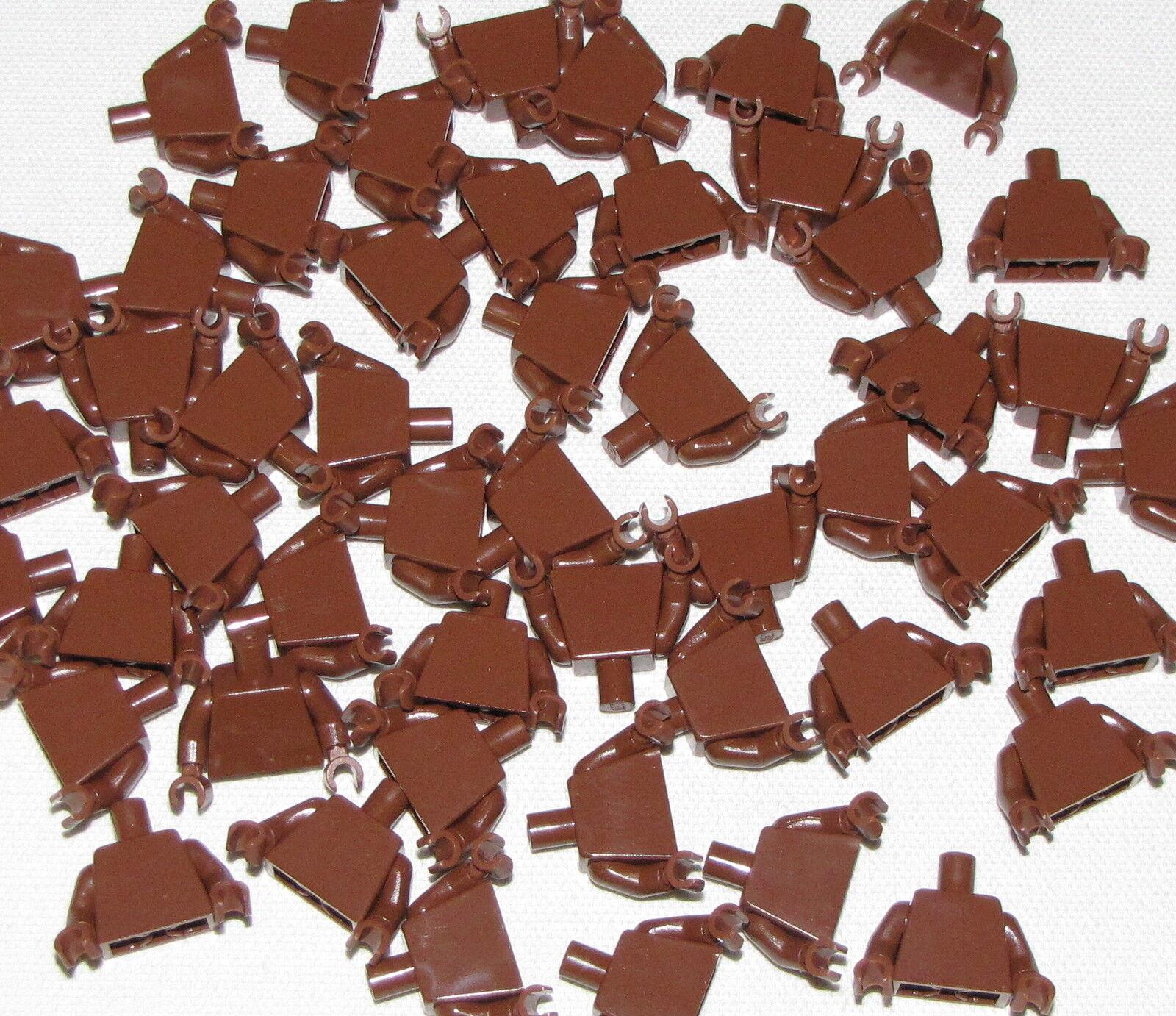 LEGO LOT OF NEW 50 ROTDISH braun MINIFIGURE TORSOS BODY PARTS