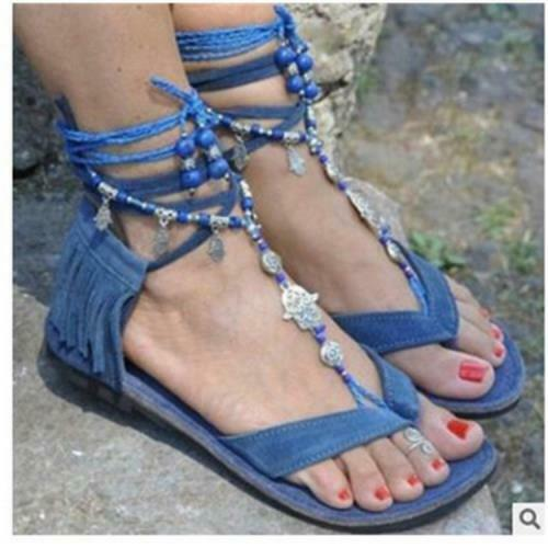 Womens New Fashion Faux Suede Tassel Thong Flat Beach Gladiator Sandal Shoes SUN