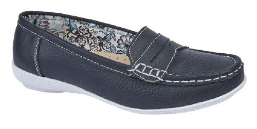Boulevard Gina L9556 Tablier De Cuir Selle Summer Casual Chaussures Bleu Marine En Cuir