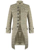 Pentagramme Mens Jacket Cream Brocade Gothic Steampunk Victorian Frock Coat