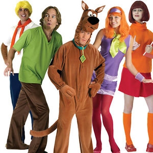 Licensed Adult Scooby Doo Fancy Dress Costume Halloween Outfit Wig