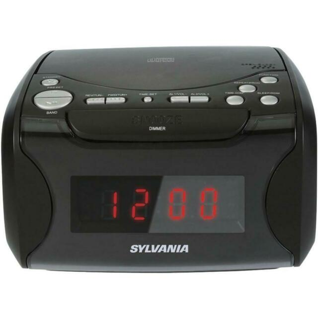 Sylvania SCR4986 Alarm Clock Radio with CD Player & USB Charging Black
