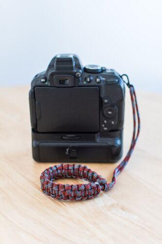 Handmade Camera Wrist StrapRed Silver Multi Paracord lanyard DSLR digital film