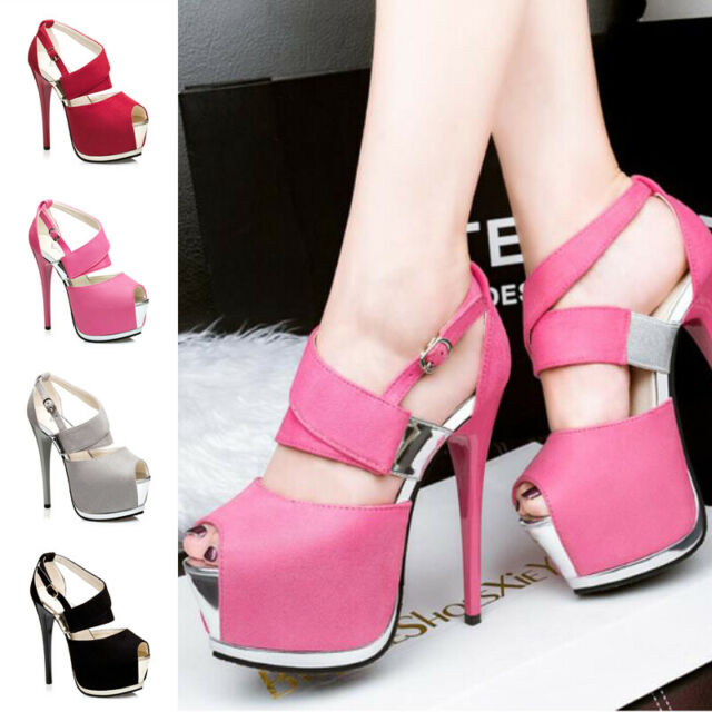 New Womens Suede Ankle Platform High Heels Shoes Peep Toe Banquet Party Sandals