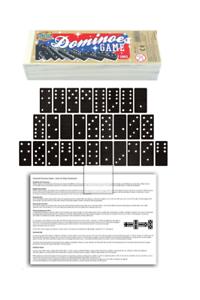 28PCS double six grandes noir blanc Dot dominos en bois étui Rangement Enfants Jeu