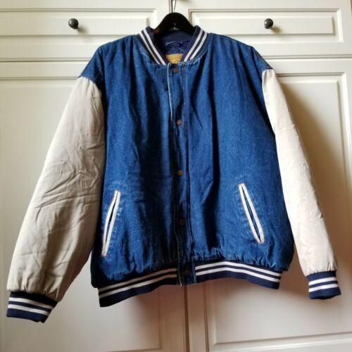 Vtg Incrowd Denim Stone Wash Varsity Jacket By Cel