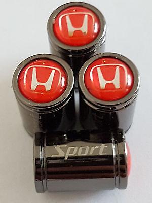 HONDA RED AND WHITE Titanium Grey Premium Alloy Valve Dust Caps All Models
