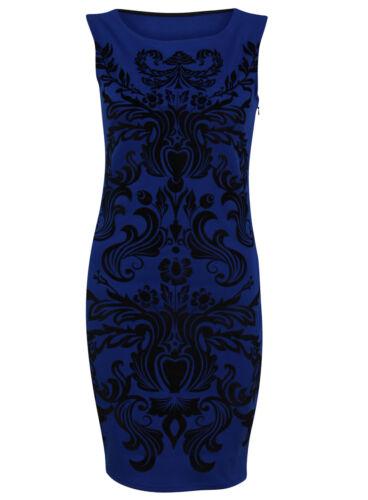 BRAND NEW LADIES EX LIPSY BLUE//BLACK TRIBAL STRETCH BODYCON DRESS SIZE 6-14