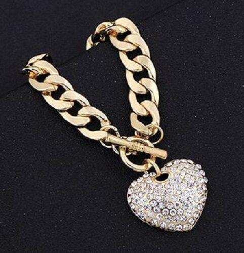 18K GOLD EP CHARM BRACELET HEART  DIAMOND SIMULATED