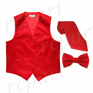 New Men's red formal vest Tuxedo Waistcoat_necktie & bowtie set wedding