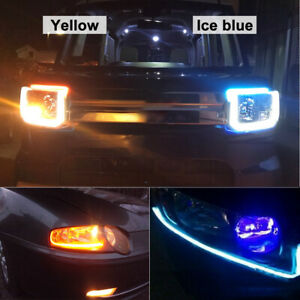 2X-60cm-voiture-LED-bande-mince-mince-phare-DRL-flux-clignotants-Blanc-Ambre-ME