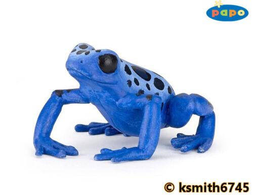 Papo Bleu grenouille solide Jouet en plastique Wild Pond Animal Amphibien * NOUVEAU *