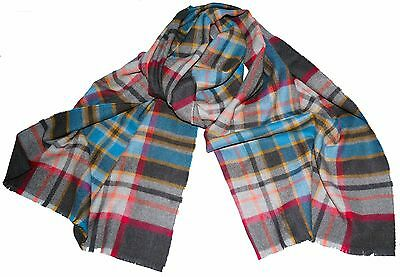 New Made in Scotland Extra Fine Merino & Cashmere Grey Check Scarf Scarves