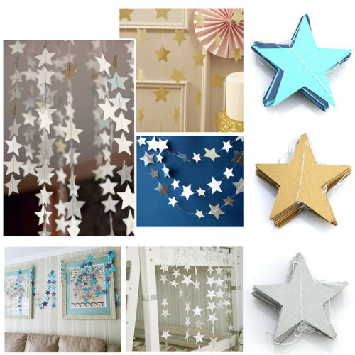 13 FEET Paper Garland Strings Star Bridal Home Wedding Party Hanging Decoration